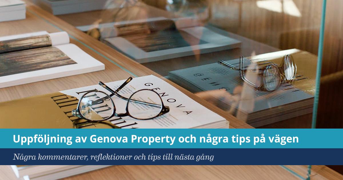 Försättsbild till artikeln: Uppföljning Genova Property och några tips på vägen - Några kommentarer, reflektioner och tips till nästa gång