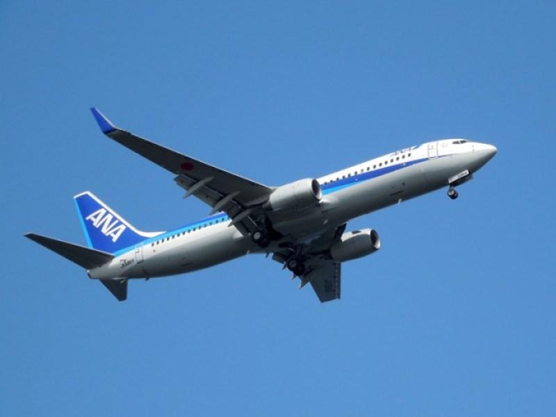 羽田空港から飛び立つANAの飛行機