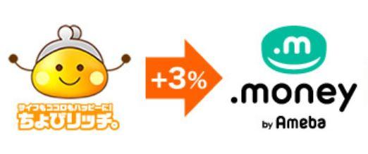ちょびリッチからドットマネーへの交換レートが3%アップ