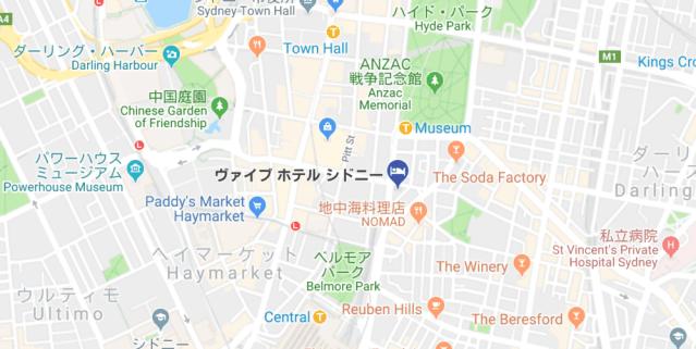 ヴァイブホテルシドニーの地図