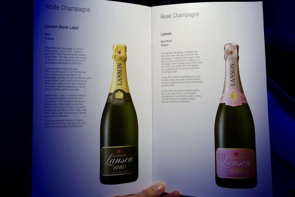 カタール航空 QR813便 ビジネスクラスキャビン ワインメニュー