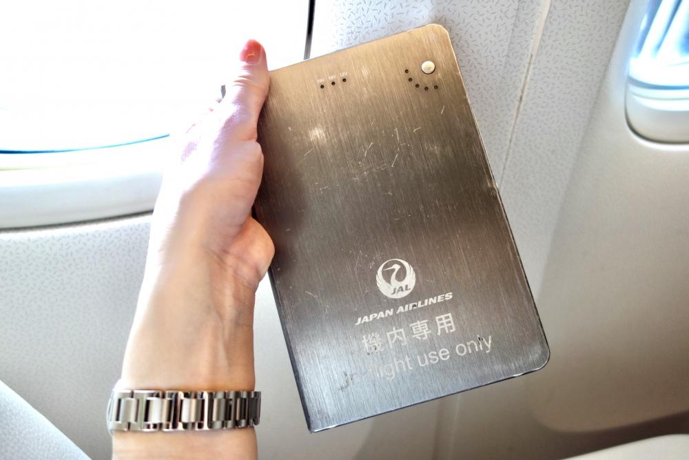 JALファーストクラスシート機内専用充電器