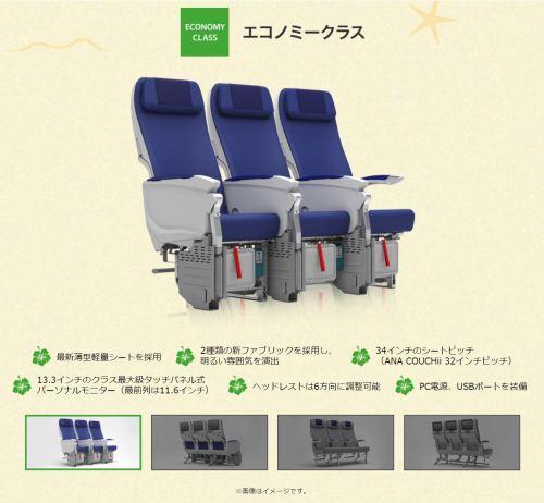 ANAハワイ新規投入A380エコノミークラス