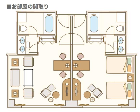 ウェスティンホテル大阪ジュニアスイートの見取り図