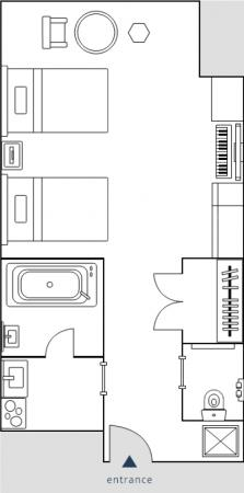 メズム東京宿泊記・チャプター1ツインの間取り図