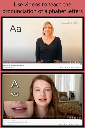 Screen shots of recommended videos for teaching the pronunciation of alphabet letters