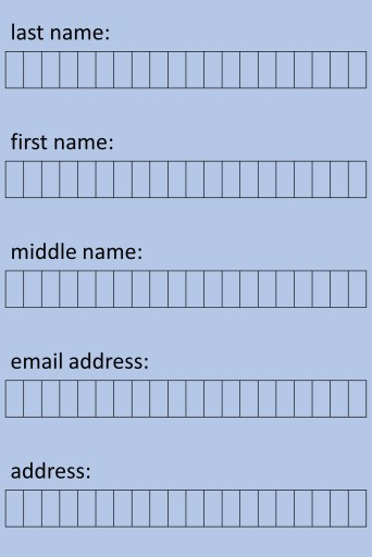 An example of how the alphabet is necessary for filling in forms