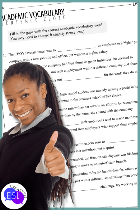 woman gives thumb's up gesture for a sentence cloze worksheet