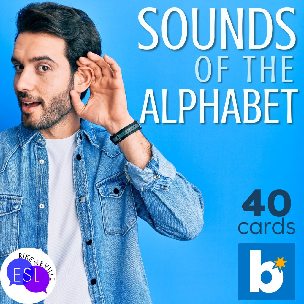 man listens to the sounds of the alphabet for adult ESL