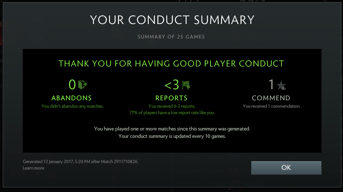 General Discussion Post Your Conduct Summary DOTABUFF Dota 2 Stats