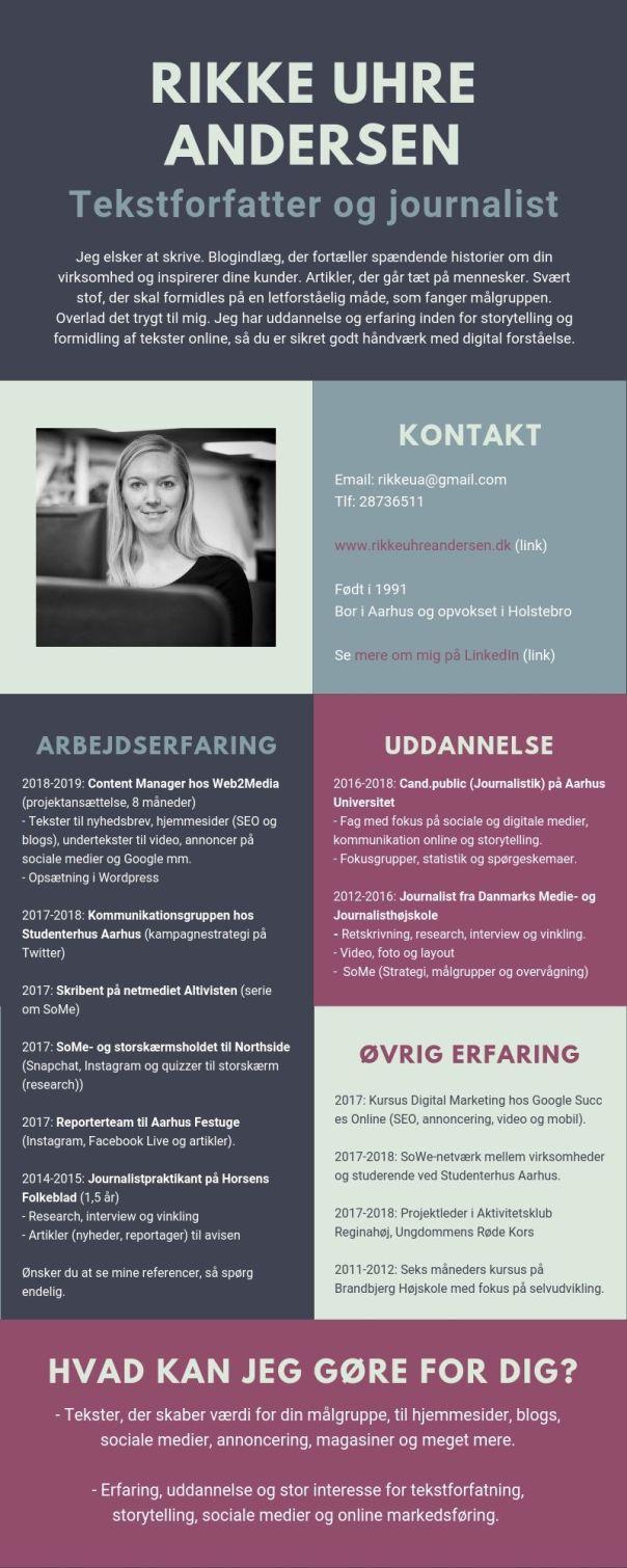 Rikke Uhre Andersen tekstforfatter CV