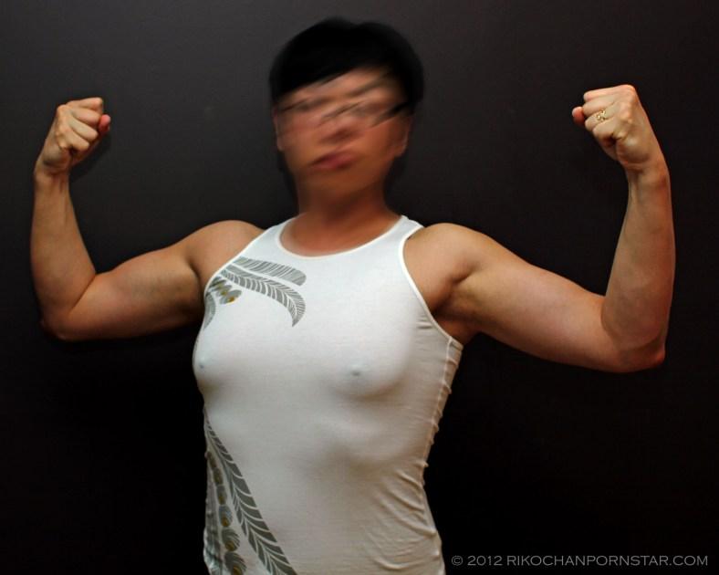 Rikochan Front Double Biceps Posing