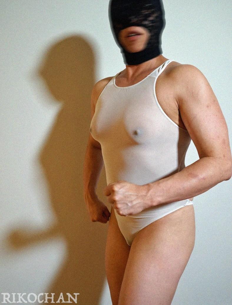 Rikochan full body shot mesh swimsuit porn