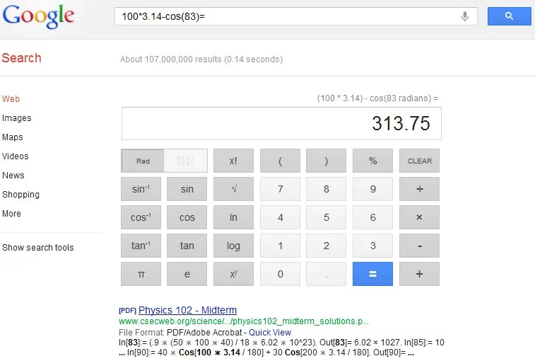 Google Search Calculator