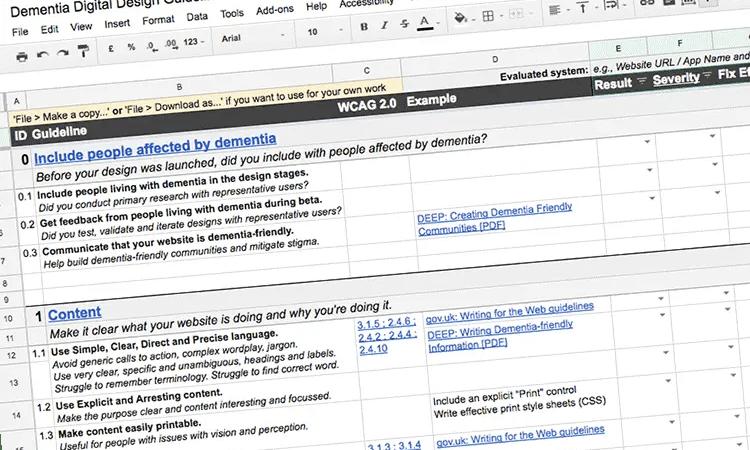 dementia digital design guidelines framework