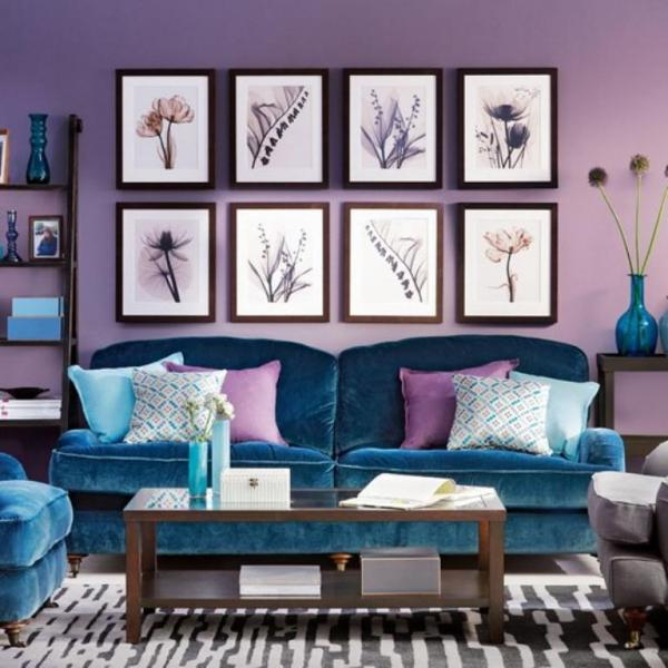 blue and purple living room 20 Dazzling Purple Living Room Designs - Rilane