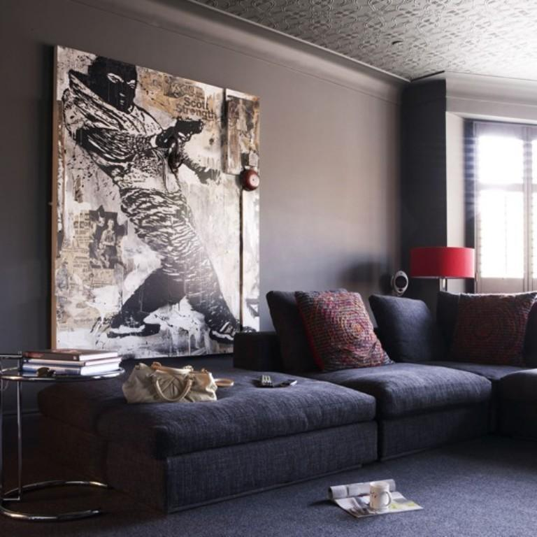 cool living room pictures of rooms with leather couches 20 statement artwork rilane oversized