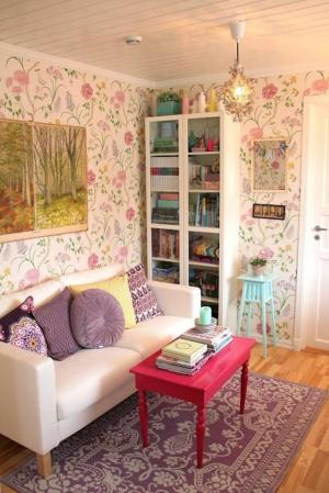 floral living feminine rooms simple coffee table pink touch ecstatic furniture space rilane digsdigs garden office collect petitevanou via