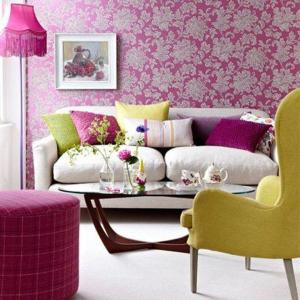 living floral pink fuschia decorating rooms interiors redonline floor bold colour background rilane fuchsia lamp traditional lamps livingroom decorated