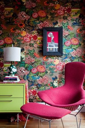 floral living interior pattern wallpapers retro modern mai chiang bright designs bedroom schumacher bold colour flower rooms decor contemporary furniture