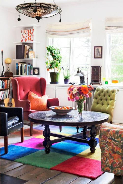 Boho Room Bohemian Decor Living With Mismatched Eclectic Chairs