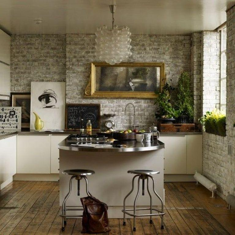 15 Natural Kitchen Designs with Stone Wall