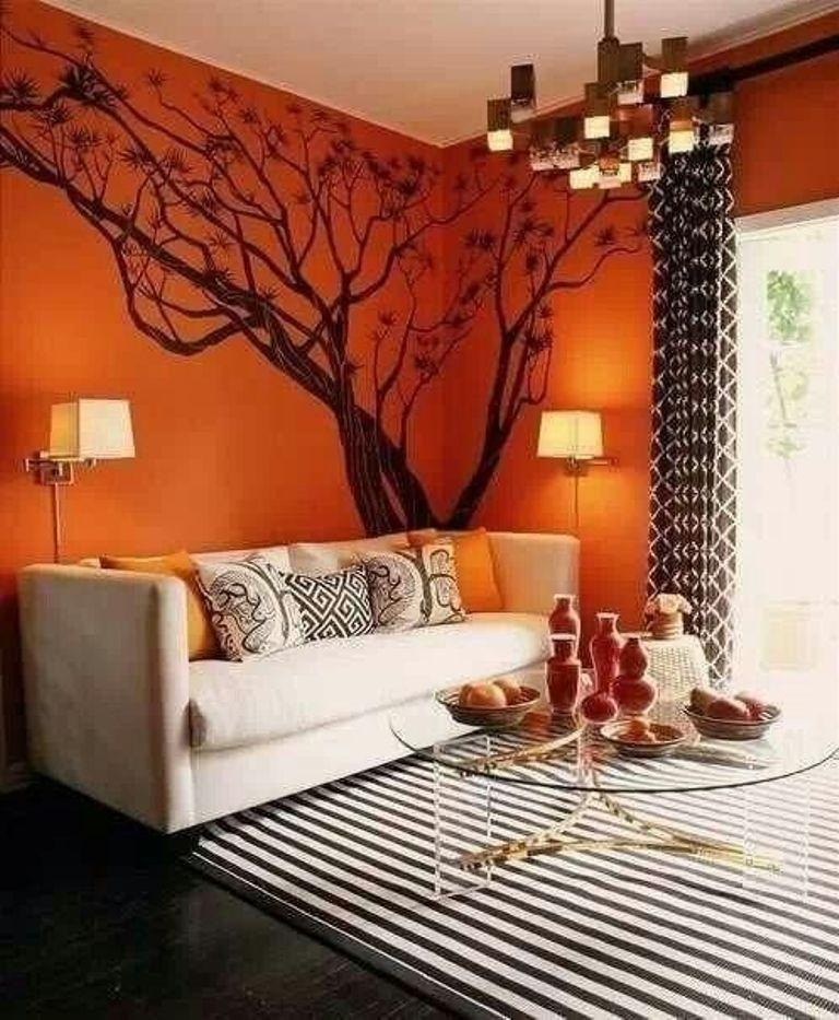 brown and orange living room feminine rooms 15 lively design ideas rilane burnt