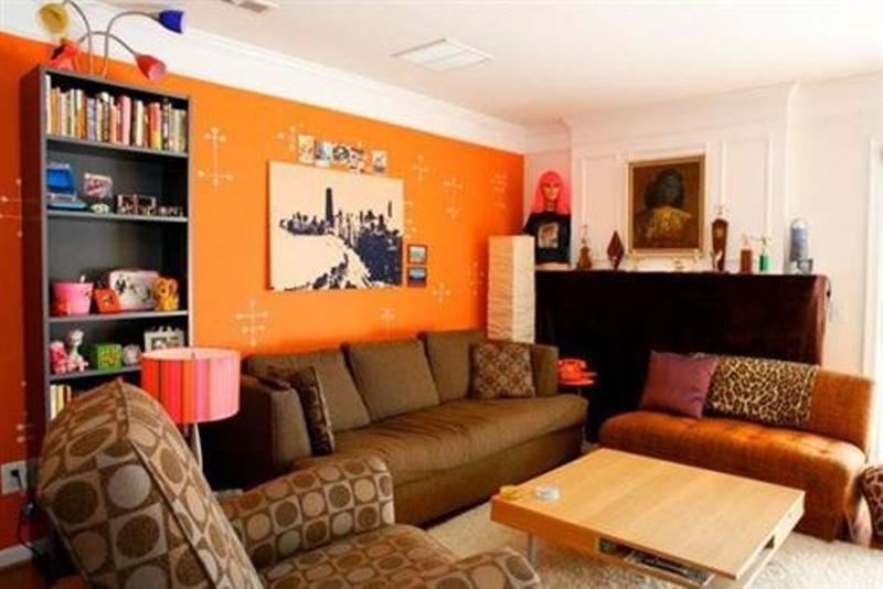 orange living room walls lighting fixtures ceiling 15 lively design ideas rilane contemporary
