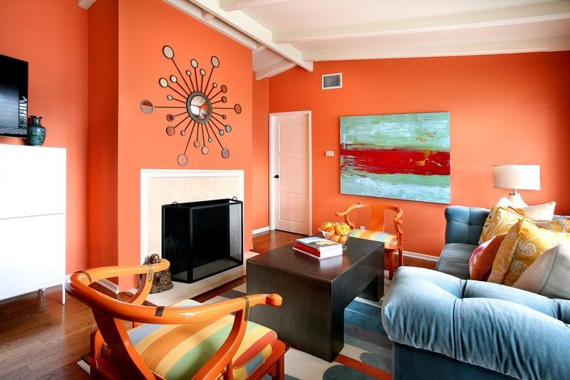 orange living room walls interior decor for rooms photos 15 lively design ideas rilane