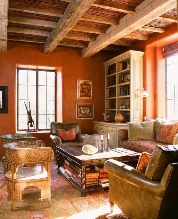 Brown And Burnt Orange Living Room