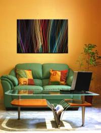 15 Solid Color Living Rooms with Wall Paintings