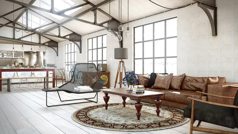 industrial style living room furniture pillows canada 15 stunning designs rilane open plan
