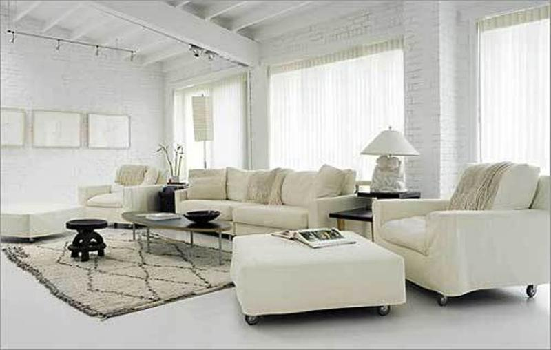white living room with pops of color