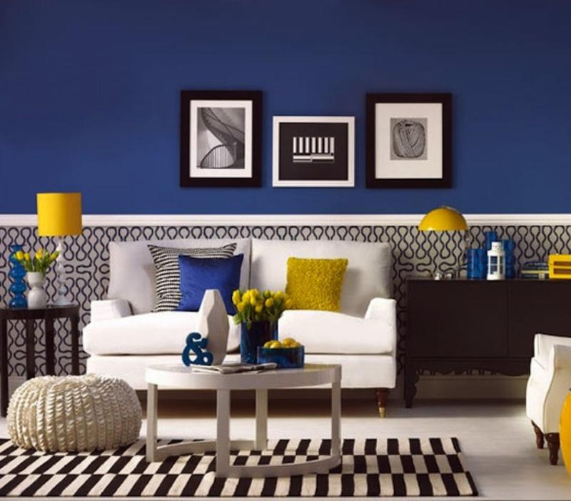small living room ideas blue decorating with black leather couch 20 charming and yellow design rilane