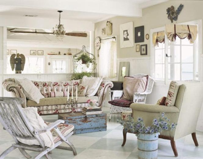 Large Leather Chesterfield Sofa Sits At The Heart Of Shabby Chic Living Room Decorating Ideas