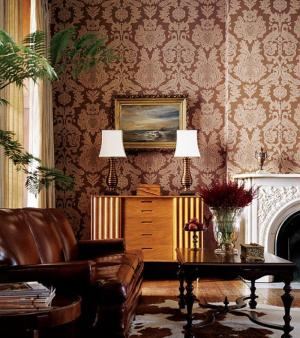 damask living brown decor fireplace decorating rooms wall eclectic wallpapers decorative elegant chic paper patterns pink modern chocolate thibaut designs