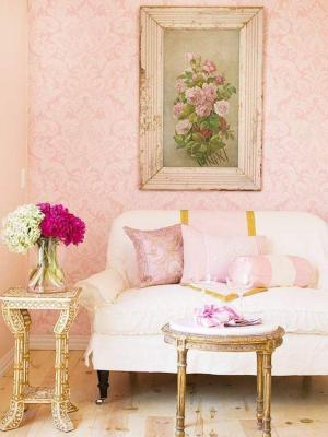 chic living damask shabby rooms elegant pink background cottage decor wall gold modern romantic walls sitting sofa decorating french couch