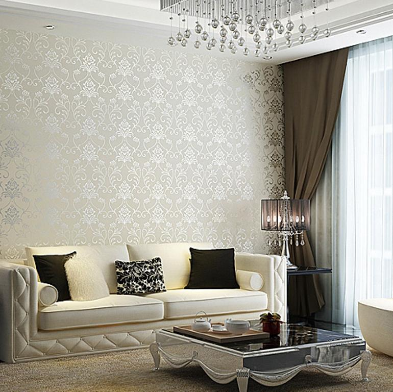 30 Elegant and Chic Living Rooms with Damask Wallpaper