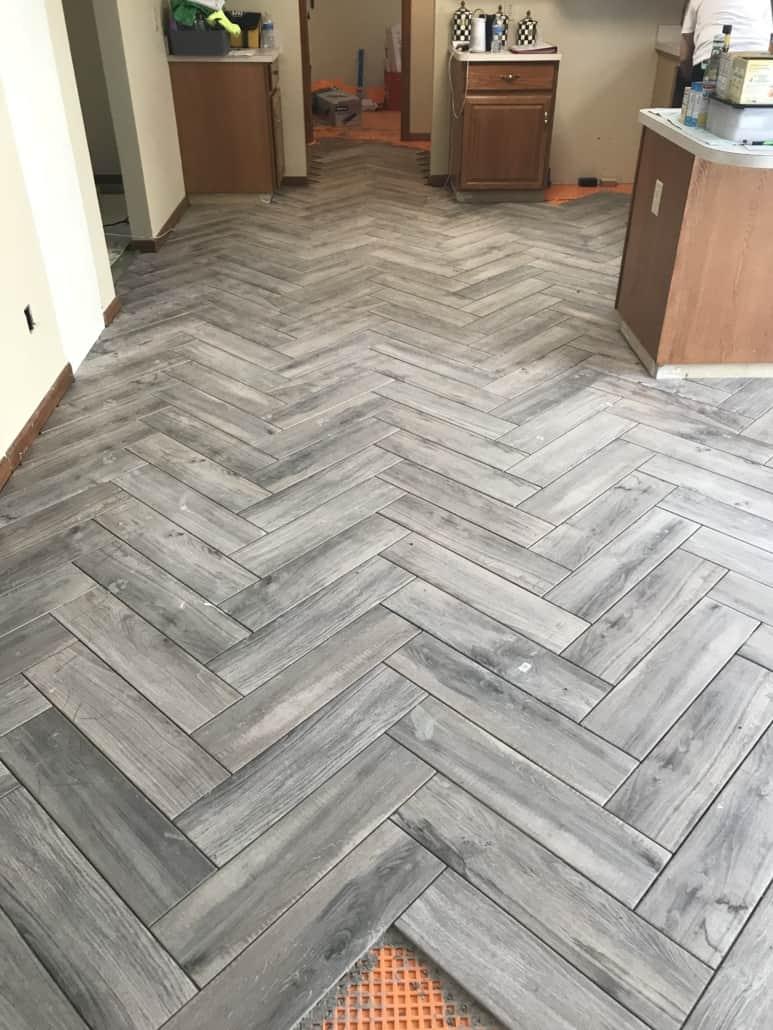 Herringbone Kitchen Floor Tile  Kent Ohio  Riley Home