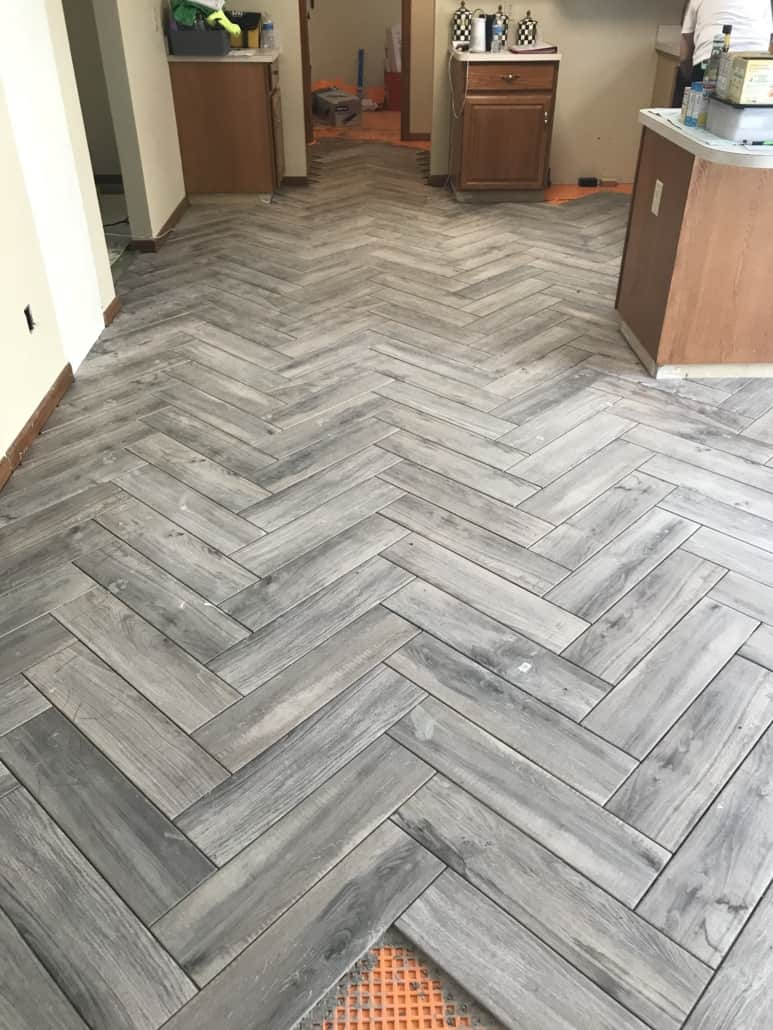 kitchen tile floor sears sinks herringbone kent ohio riley home remodel share this entry