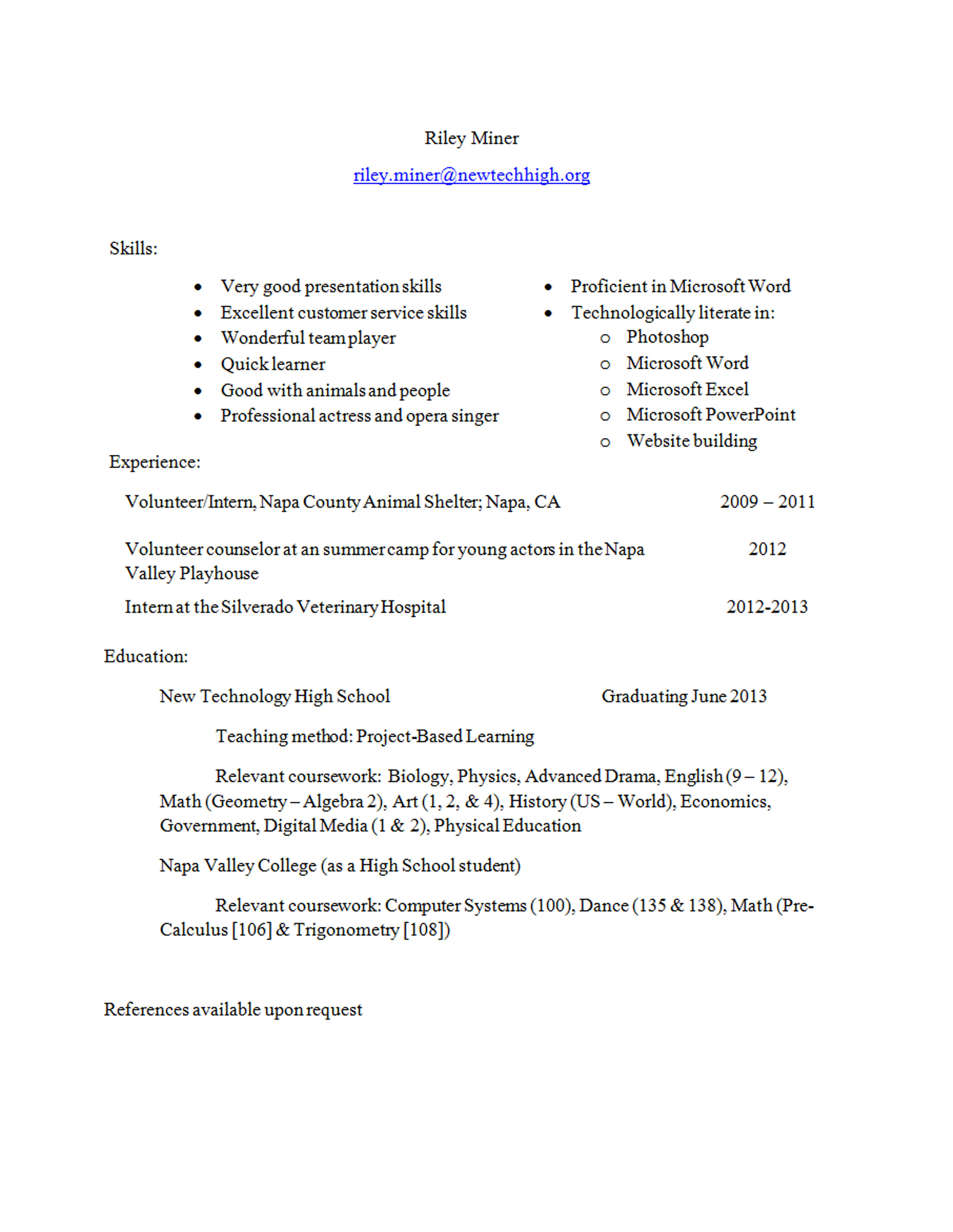Mining Resume Examples My Résumé And Letters Of Recommendation Riley Miner