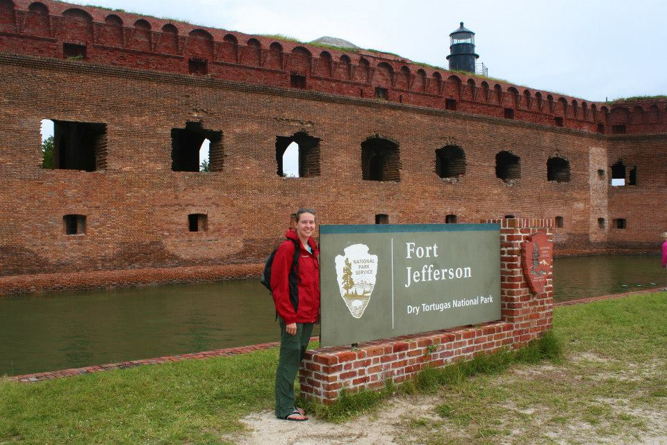 Riley standing at the entrance to Fort Jefferson