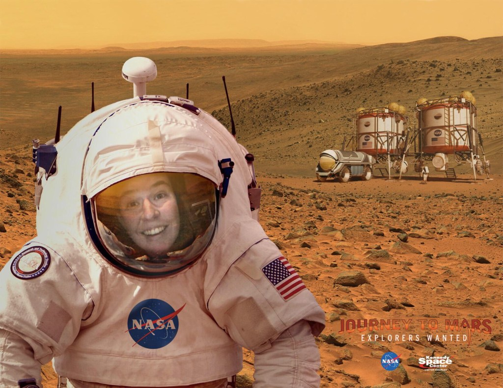 Riley places herself in an astronaut suit on planet Mars