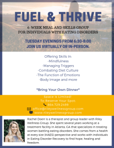 Fuel & Thrive Flyer | Eating Disorder Groups | Asheville & Hendersonville, NC | Greenville, SC
