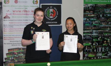 RILSA €3,000 Girls Snooker Scholarship Commences in Sharkx Newbridge – Sponsored by Sharkx
