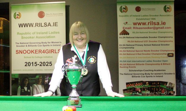 Annette Newman makes it 5 in a row as she retains the Ladies National Billiards Championship at Sharkx Newbridge
