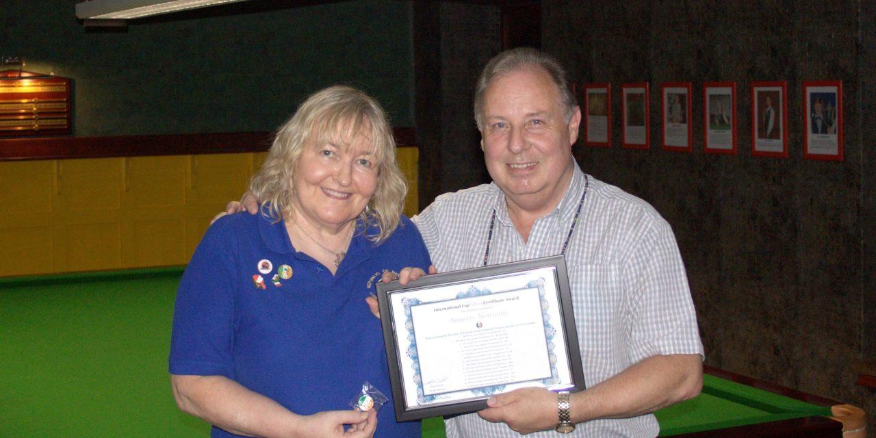 Annette Newman Receives the Silver International Cap Award
