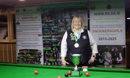 Annette Newman Retains her National 10 Red Snooker Title at the RILSA Academy Sharkx Newbridge