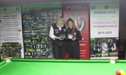 Anna Lynch wins the Inaugural Women's Irish Open World Billiards Ranking Event at the RILSA Academy Sharkx Newbridge