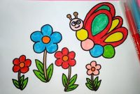 gambar mewarnai bunga dan kupu-kupu